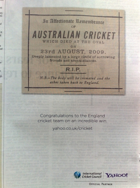 Yahoo cricket newspaper ad