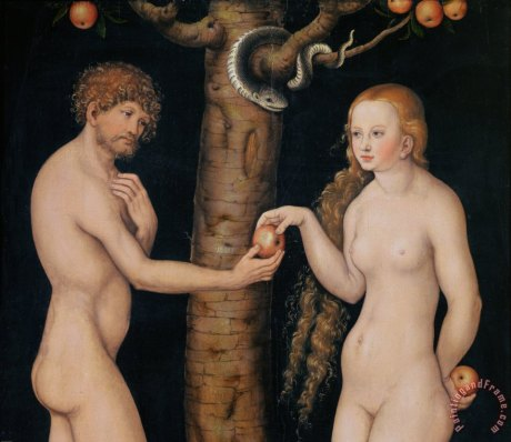 A nude Adam and Eve ponder over an apple or piece of fruit before their fall from innocence...